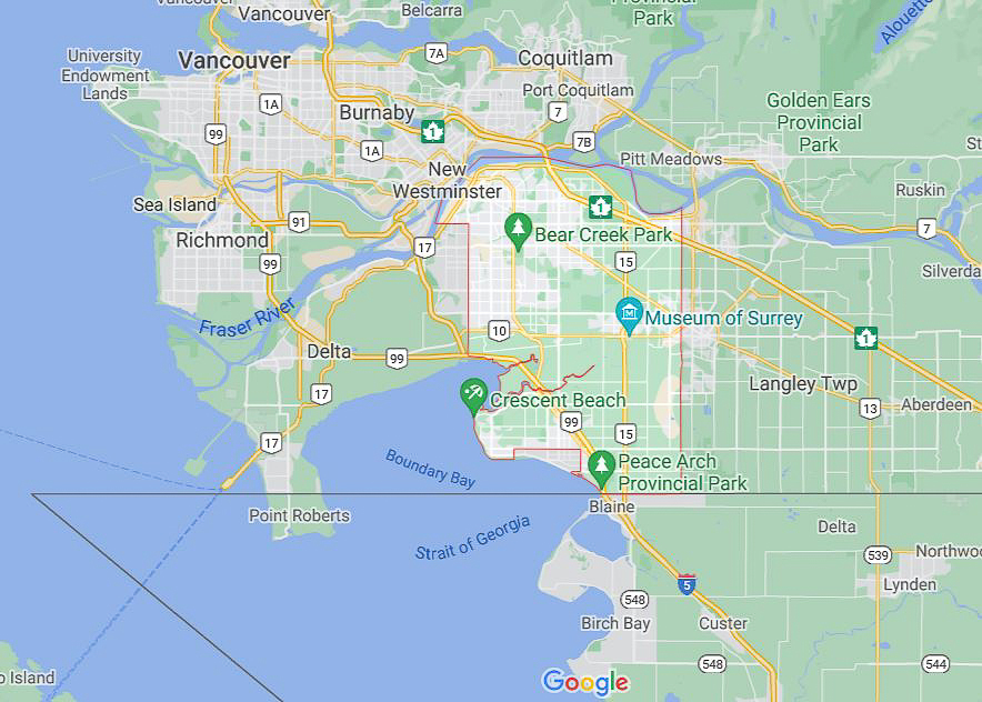 A map showing St. George's Coptic Orthodox Church is located in in Surrey B.C. [Screenshot from Google Maps]