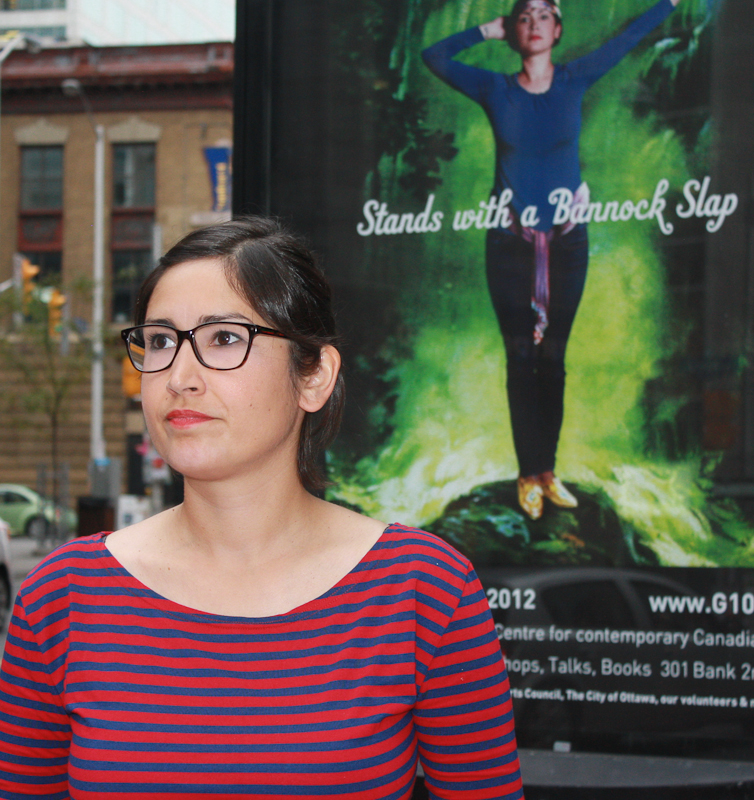 Saskatchewan-born artist Joi Arcand's work can be seen on advertising boards up and down Bank Street. (Photo by Radiyah Chowdhury)